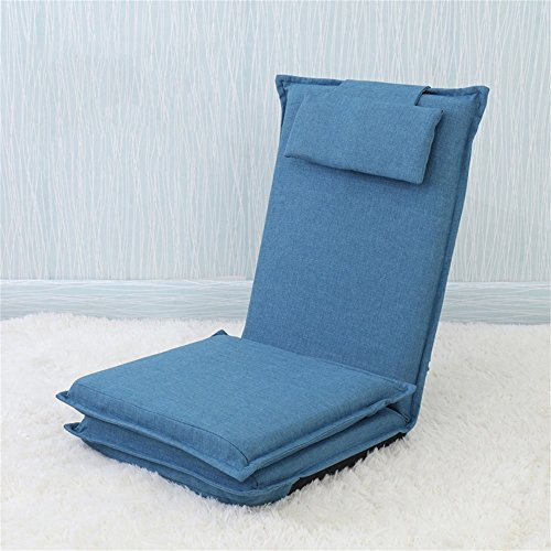 GHM Boden Stuhl Boden Stuhl Bett Computer Stuhl Rückenlehne Lazy Single kleines Sofa Folding Dormitory Bay Fenster Schwamm Boden Sofa (Farbe : Dunkelblau) -