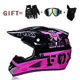 Yedina Motocross-Helm ATV Scooter Offroad Helm D.O.T Zertifizierung, Geschenkhandschuhe Maskenbrille (S, M, L, XL),L