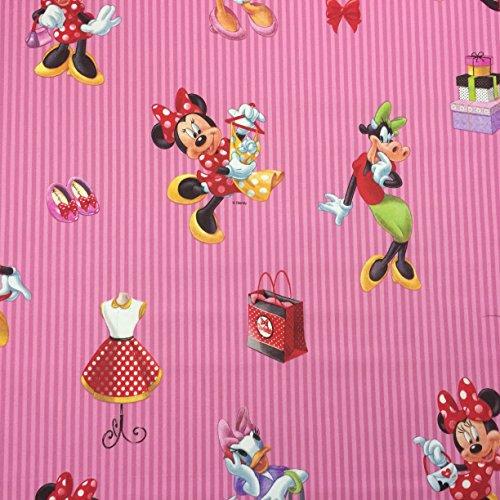 Disney-Minnie Mouse-Pink-Design, hochwertiges Lizenzprodukt, 100% Baumwolle, fein gewebt Bettwäsche Children's, 140 cm breit, Meterware (Stripe Bettwäsche Baumwolle Mini Aus)