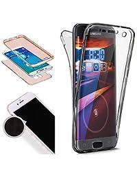 Nadoli 360 Grad Handyhülle für Galaxy A6 Plus 2018,Transparent Full-Body Weich Flexibel Einfarbig Farbe Schwarz Durchsichtig Schutzhülle für Samsung Galaxy A6 Plus 2018,Schwarz