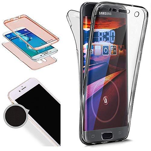 Nadoli 360 Grad Handyhülle für Galaxy S7,Transparent Full-Body Weich Flexibel Einfarbig Farbe Schwarz Durchsichtig Schutzhülle für Samsung Galaxy ()