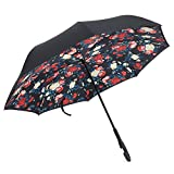 Robolife Windproof Umbrella, Rain Protection Windproof Reverse Folding Double Layer Umbrella with C-shaped Handle