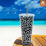 Archies Double Walled Plastic Sipper In Black Color With Thick Straw, 750 Ml Capacity, 1 Pc.