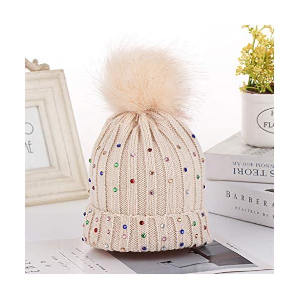 Baohooya Invierno Bebe Gorros para 1-6 Años - Gorro de Lana de Diamante con Bola de Pelo Otoño Invierno Calentar… 2