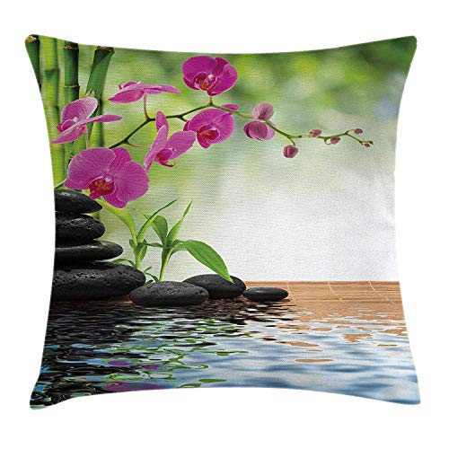 ZTLKFL Spa Decor Throw Pillow Cushion Cover, Composition Bamboo Tree Floor Mat Orchid Stones Wellbeing Greenery Art, Decorative Square Accent Pillow Case, 18 X 18 Inches, Green and Purple International Silver Orchid