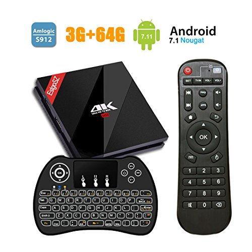 EstgoSZ Android TV BOX Amlogic 912 Octa Core Android 7.1 4K 3GB DDR3 RAM 64GB ROM 2017 Set Top Box Unterstützung Bluetooth4.1 H.265 2.4G/5G Dual WiFi 1000M LAN mit Kabellose Backlit Tastatur