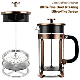 from Famirosa French Press, Famirosa French Press Coffee Maker for Coffee Tea Camping and Office (8 Cups, 1000ml, 34 Oz, 4 Filters)