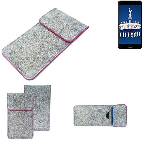 K-S-Trade® Filz Schutz Hülle Für -Leagoo T5C- Schutzhülle Filztasche Pouch Tasche Case Sleeve Handyhülle Filzhülle Hellgrau Pinker Rand
