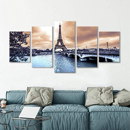 decalmile 5 Stücke Wandkunst Malerei Das Bild Druck Auf Leinwand Paris Eiffelturm Kunstwerk Bilder für Zuhause Büro Moderne Dekoration