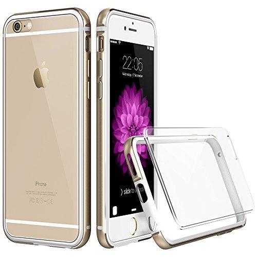 iPhone 6S Plus / 6 Plus Hülle (5,5 Zoll), ESR® Hybrid Schutzhülle, Metallrahmen mit Silikon Bumper + Hart PC Zurück Kombination, Stoßdämpfung Kratzfeste Hülle mit Glitter Gefälschten Diamanten für iPh Transparent_Gold