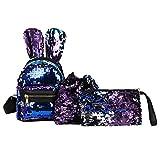 Best Under Armour Backpacks For Teen Girls - Rawdah 5Pcs Fashion Student Children Sequins Backpacks+Drawstring Bag+Messenger Review