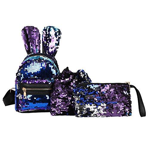 (Tatis Bag Niedliche Kaninchenohren Pailletten Dekorativer Rucksack/Bündeltasche / Handtasche 3-teilig Kinder Studenten Umhängetasche Niedlich Mode)
