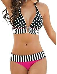 Ninimour Verano Traje de Baño de dos piezas Push Up Bikinis set estilo de folklore para Mujer