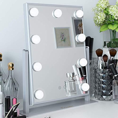 Ovonni Hollywood Espejo Maquillaje con Luz, Espejo de Mesa con 9 LED Luces, Espejo Cosmético Grande, 360 ° Giratorio, 2 Color y 3 Modos, Control Táctil, USB Recargable, Plata