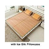QWET Doppelseitige Faltmatte - Bambus- und Grasweberei - für einen kühlen, komfortablen Schlaf im Sommer (mit Kissenbezug aus Eisseide),35x74in(1xpillowcase)