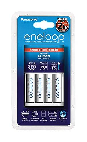 Panasonic Eneloop Chargeur + 4 piles LR06-AA Blanc
