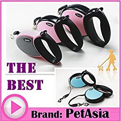 Generic Pink, S : 2017 Small Medium Big Large Pet Dog Automatic Retractable dog leash lead Collar Harness 25kg 30kg 40kg Red Blue Pink Nylon 5M