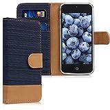 kwmobile Hülle für Apple iPhone SE/5/5S - Wallet Case Handy Schutzhülle Kunstleder - Handycover Klapphülle mit Kartenfach und Ständer Blau Braun