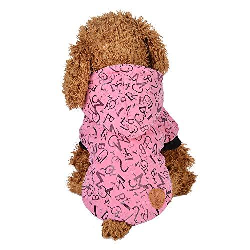 (Dragon868 Hund Mantel Komfortable Haustierkleidung Welpennordrunde Neck Shirt Zwei Legen Kleidung mit Cap Letter Mantel)