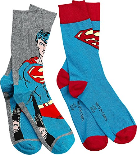 Herren-Socken (Größe 39 - 46 (6 – 11), 2Stück) (Superman Socken)