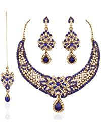 I Jewels Traditional Gold Plated Wedding Necklace Set With Maang Tikka For Women M4040Bl (Blue)