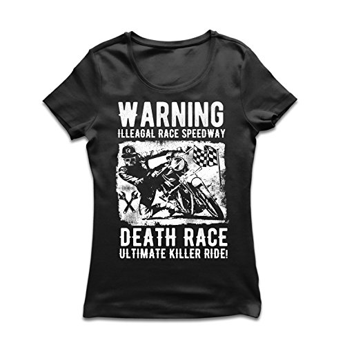 Frauen T-Shirt Todesrennen - ultimative Killerfahrt, Motorradrennen, Klassiker, Vintage, Retro-Schädel-Biker, Motorrad (Medium Schwarz Mehrfarben)
