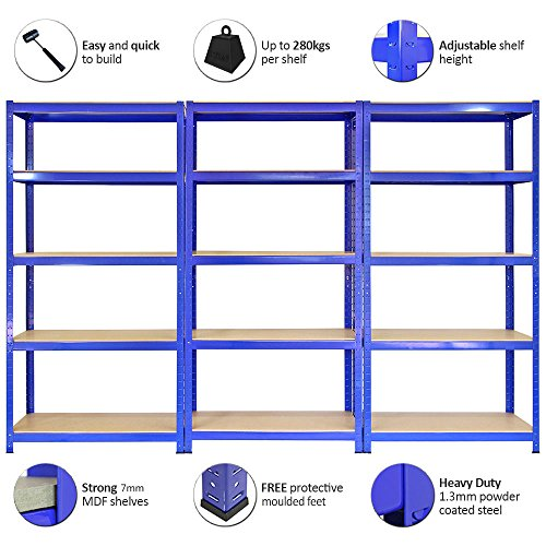 Monster Racking Sparangebot 3 x T-Rax Lagerregal Hochleistungsregal Garagenregal Stahlregal Industrieregal Werkstattregal Steckregal Lagerregal 90cm x 45cm x 180cm 100% Schraubenfrei + Gratis Gummihammer - 2