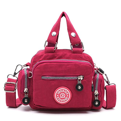 kolylong-women-waterproof-nylon-handbag-shoulder-diagonal-messenger-bag-hot-pink