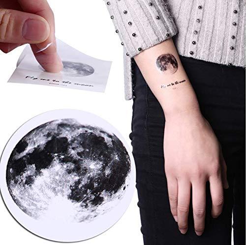 1 Grau Mond Erde Design Wasserdicht Temporäre Gefälschte Tattoo Aufkleber Retro Tattoo Aufkleber Makeup Tool 6,5X5,5 cm