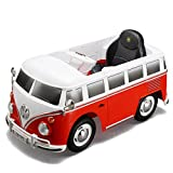 ROLLPLAY Premium Elektrofahrzeug mit Fernsteuerung und Rückwärtsgang, Für Kinder ab 3 Jahren, Bis max. 35 kg, 12-Volt-Akku, Bis zu 4 km/h, VW Bus T1 (Typ 2), Rot