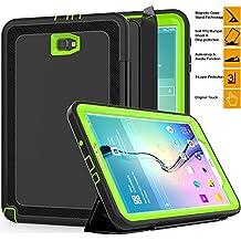 """Samsung Galaxy Tab 10,1""""en un caso, saymac resistente a prueba de golpes 3capas completa protección híbrido resistente armadura Defender funda plegable de piel sintética con cierre magnético con función de encendido/apagado para Samsung Tab A 10,1sm-t580N/t585C/p580N -- niños estudiantes Workmen constructores caso verde"""