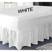 Sábana bajera ajustable cubre canapé de polialgodón para cama, sábana por Mas International Ltd, algodón poliéster, Blanco, matrimonio