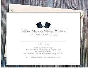 Personnalisé civile cérémonie/50 cartons d'invitation de mariage Motif chapeau Partenariat civile Carton d'invitation de mariage Motif Gay Motif Enveloppe blanche incluse.