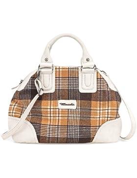TAMARIS RUTH Handtasche, Bowling-Bag, Schottenkaro, 2 Farben: orange-mocca braun oder orange-weiss