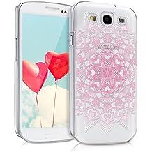 kwmobile Funda para Samsung Galaxy S3/S3 Neo - Case plástico para móvil - Cover trasero Diseño Mandala de corazón en rosa claro blanco transparente