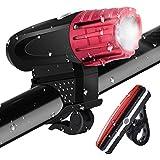 tohayie impermeabile LED illuminazione bicicletta Set, ricaricabile luce per bicicletta con LED Fanale posteriore, sicurezza della lampada ,320Lumen ,4modalità di luce USB ricaricabile bicicletta luci, Rosso 1