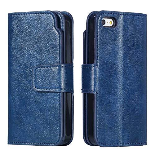 Conber Funda iPhone 5 / 5s / SE, Funda de Cuero con [Protector de Pantalla Gratis], Soporte Plegable y Cubierta Interior TPU Premium Funda Piel para Apple iPhone 5/5s/SE - Azul