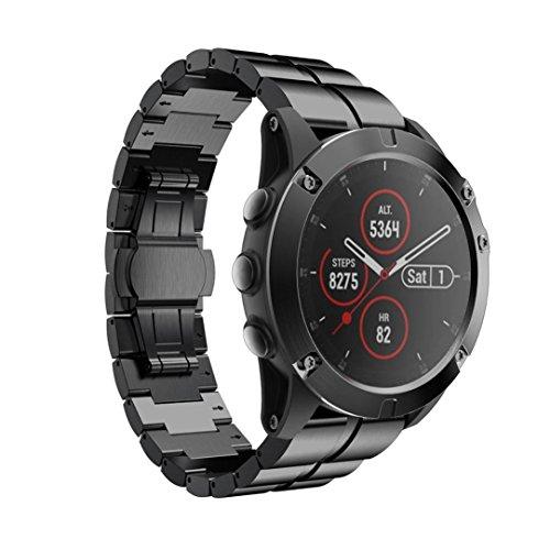 Y56 200mm Luxus Edelstahl Schnellverschluss Einfach Fit Wirstband Für Garmin Fenix 5X Plus ersatzband Armband Uhrenarmband Bracelet fitnessarmband Für Garmin Fenix 5X Plus (Schwarz)