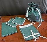 Completo con 4 productos de cocina - línea de color (delantal, guantes de cocina, trapo de cocina, bolsa para el pan) colores para elegir