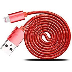 Weave Lightning USB Data Cable Charger Compatible for Apple iPhone 5/5c/5s/6/6 Plus/iPad Air/iPad Air 2/iPad mini 2 (red color)
