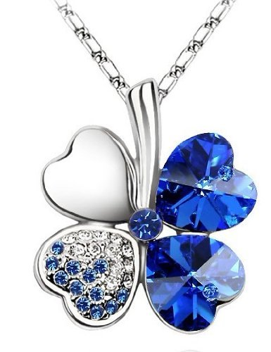 Swarovski Elements cristallo blu Four Leaf Clover Collana 19
