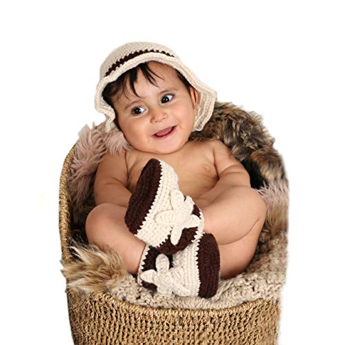 Matissa Neugeborenes Baby Mädchen/Jungen häkeln Stricken Kostüm Fotografie Prop Outfits (Cowboy 2)