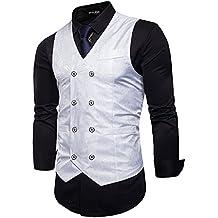 d11ce21150d253 STTLZMC Elegante Herren Weste Formal Paisley Slim Fit Retro Stil Blazer