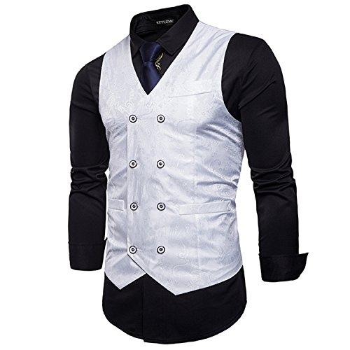 STTLZMC Elegante Herren Weste Formal Paisley Slim Fit Retro Stil blazer,Weiß,s