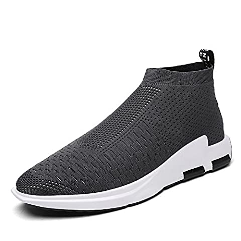 SITAILE Men's Flyknit Mesh Low Top Running Shoes Lightweight Breathable Gym Walking Trainers, Gray
