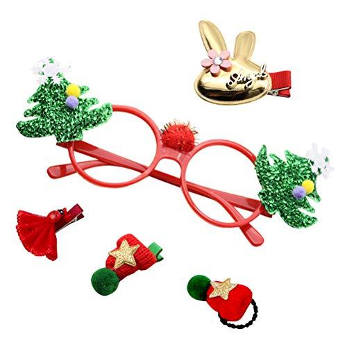 PRETYZOOM Weihnachten Mini Runde Gläser Rahmen Foto Requisiten mit Haarspangen Party Favors Lieferungen für Kinder Erwachsene Geburtstag Kostüm Party Cosplay (Weihnachtsbaum) (Weihnachtsbaum-kostüme Für Kinder)