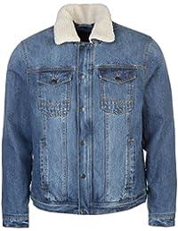 Firetrap Mens Lined Denim Jacket Coat Top Long Sleeve Zip Full Warm Chest Pocket