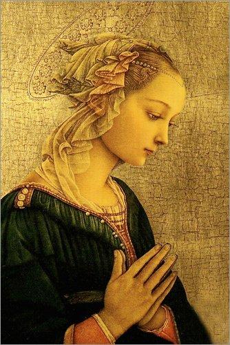 Posterlounge Lienzo 20 x 30 cm: Madonna de Fra Filippo Lippi - Cuadro Terminado, Cuadro sobre Bastidor, lámina terminada sobre Lienzo auténtico, impresión en Lienzo