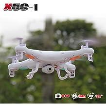 X-UAVs TM - Syma X5C-1 2.4Ghz 6-Axis Gyro RC Quadcopter Drone UAV RTF UFO con HD 2.0 MP Cámara - Versión más reciente X5C - 1 - 4 Propulsores adicionales + 4 GB Tarjeta de memoria + lector de tarjetas + Total 3 Baterías + 4 en 1 Cargador de batería + Número de seguimiento