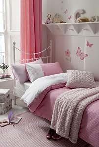 GIRLS FLUTTERBYE SPARKLY BUTTERFLY & PINK POLKA DOT COTBED/ COT BED/TODDLER DUVET SET - BY GOOSEBOOSE